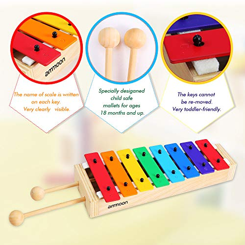 ammoon Xylophone 8 Keys Compact Size Xylophone Glockenspiel with Wooden Mallets Percussion Musical Instrument Toy Gift for Kids Children