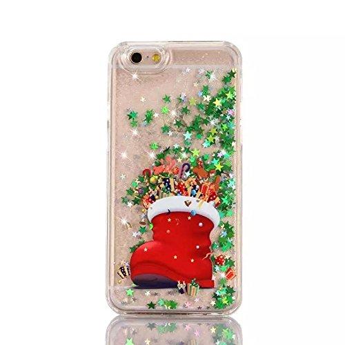 iPhone 6S Etui , iPhone 6 Coque PC , Caselover Noël Motif Mode Glitter Liquide Hard Case Couverture pour Apple iPhone 6 6S (4.7 pouces) Mode Dynamic Etoiles Paillettes Sable Circuler Housse Protection Noel 1