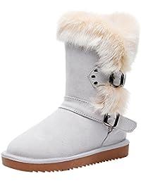 7a3de2a1f073a Jamrom Femmes Mode Cuir Véritable Mi-Mollet Bottes d hiver Vhaud Fourrure  Synthétique Doublé