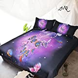 HTST Dreamcatcher feather 3D Bedroom Set ,100% Breathable Cotton duvet cover sets With Pillow Cases ,queen King size, B, Twin
