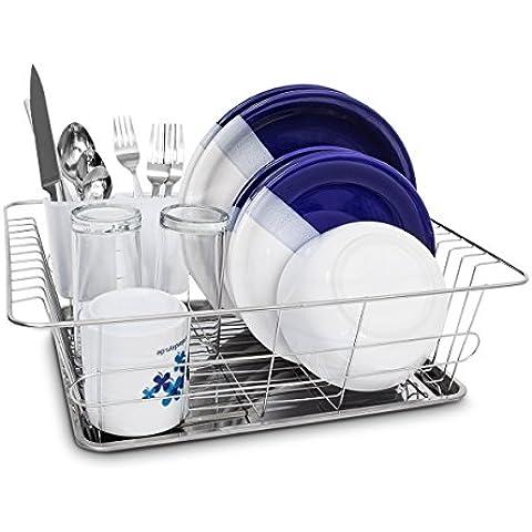 Relaxdays 10019096 - Escurridor de acero inoxidable con rejilla y bandeja magnética (40,5 x 30,5 x 13 cm, incluye cesta para cubiertos para lavavajillas)