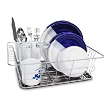 Relaxdays Draining Rack Stainless Steel With Drip Tray & Cutlery Compartment 39,5 x 30,3 x 12.5 cm For Plates, Cutlery, Glasses, Crockery Dish Rack, Metallic