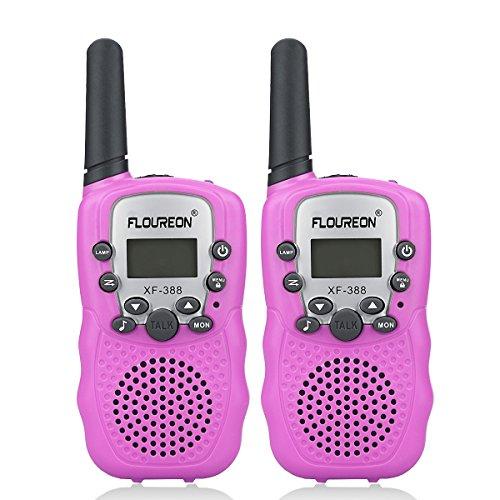 FLOUREON Talkie Walkies Paire Enfant Radios bidirectionnelles 8 canaux 3000M (Max 5000M extérieur) UHF Longue Portée Portable Walkies Talkie (Rose)