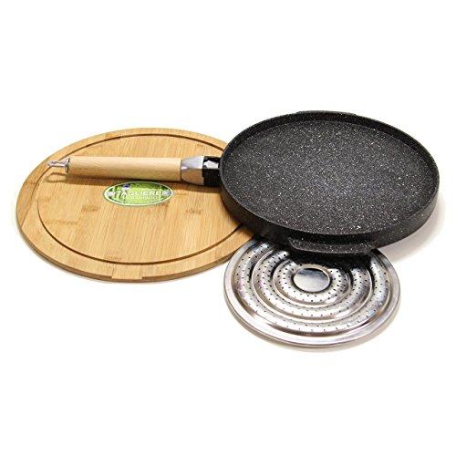 Padelle tonda doppia cottura del testo romagnolo in pietra lavica antiaderente liscia e grigliata black cm32 + sottopentola in legno sagomato + spargifiamma no condimenti