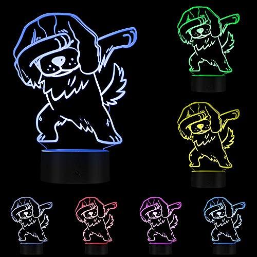 3D Visuelle Lampe LED Optische Täuschung Nachtlicht Kreative leuchtende LED Schreibtischlampe, Charles Spaniel -