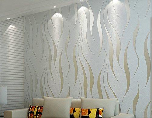 #ufengke Vliesstoff Beflockung Bronzing Modern Simple 3D-Ripple Muster Tapeten Wandbild Für Wohnzimmer Schlafzimmer TV Hintergrund#