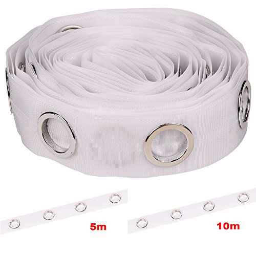 Cinta de cortina con ojales, 40/80 anillas, cinta de costura plateada, accesorios de cortina de 5/10 m 5 m blanco