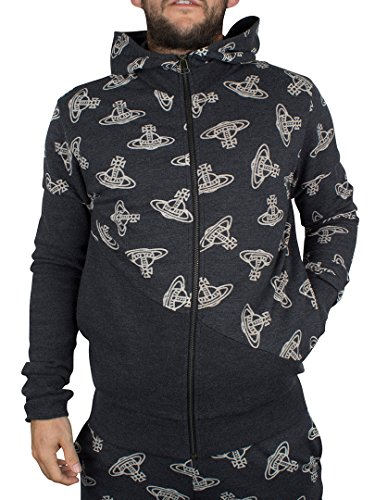 Vivienne Westwood Uomo Time Machine All Over Logo Felpa con cappuccio, Grigio, Medium