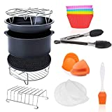 '7 Inch General Air Fryer Accessories 11 Pcs With Recipe Cookbook, Compatible For Over 3.2 Litre Air Fryers, Philips, Cosori, Tower Airfryer, Deluxe Deep Fryer Accessories Set Of 12