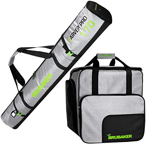 Brubaker Kombi Set CarverTec Pro - Skisack und Skischuhtasche für 1 Paar Ski + Stöcke + Schuhe + Helm - Silber Grün - 170 cm -