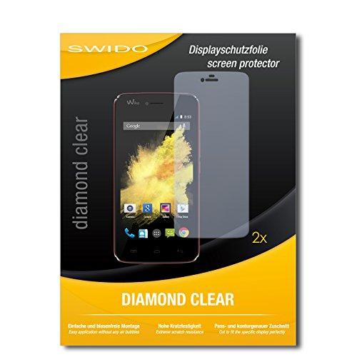SWIDO 2 x Bildschirmschutzfolie Wiko Birdy Schutzfolie Folie DiamondClear unsichtbar