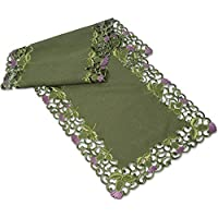 Table Runner (Large) in Green Balmoral Thistle Design. Beautifully embroidered table linen to grace your dining table at Hogmanay, Burns Night, St Andrew's Day, or to dress the tables at your Scottish Wedding, Engagement Party or other Scottish Celebrations, also ideal for Christmas, Mother's Day and Easter Dining Gifts and Celebrations.