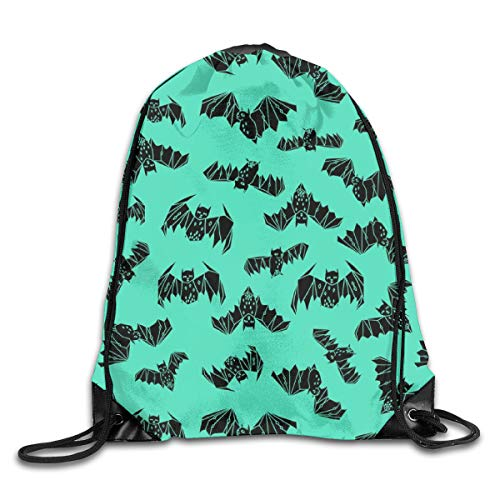 Bags Bat Geo Bat Geometric Drawn Bat Illustration Halloween Bright Green Non Directional by Sport Athletic Gym Sackpack for Men Women ()