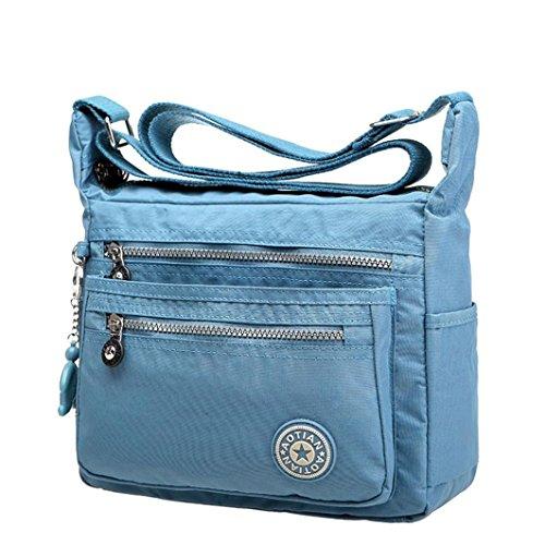 Kangrunmy Tempo Libero Delle Donne Impermeabili di Nylon Borse Messenger Borse a Tracolla Blu Chiaro
