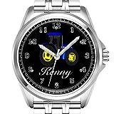 Personalisierte Herrenuhr Mode wasserdicht Uhr Armbanduhr Diamant 939. Gelber und Blauer Traktor