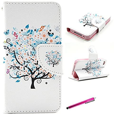 iPhone 4S Case, Leather Case for iPhone 4S, JCmax Premium Flip Ultra Slim PU Leather Wallet Case With Card Slots for Apple iPhone 4S -[Tree Pattern]