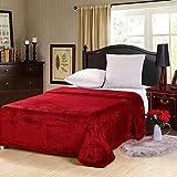 Soft Flannel Fleece Blanket, Dark Red, Single Size, 200 * 160 cm