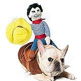 SEALEN Cowboy Rider Hunde-Kostüm, Ritter-Puppe mit Kleid und Hut für Hunde und Katzen, Thanksgiving Day Weihnachten, lustige Haustier Kleidung (XL)