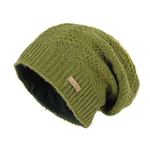 McRon Wollmütze Lina olivgrün für Erwachsene Beanie Strickmütze warm gefüttert (Olivgrün Gefüttert)