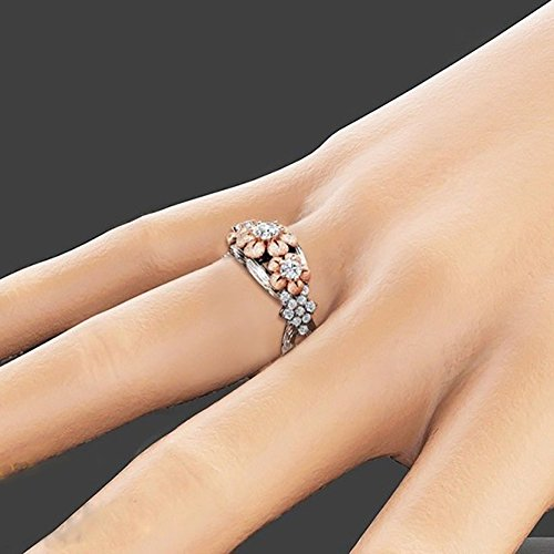 ZHOUBA Exquisite Plum Blossom Flower Winding Rhinestone Finger Ring Women Charm Jewelry Gift