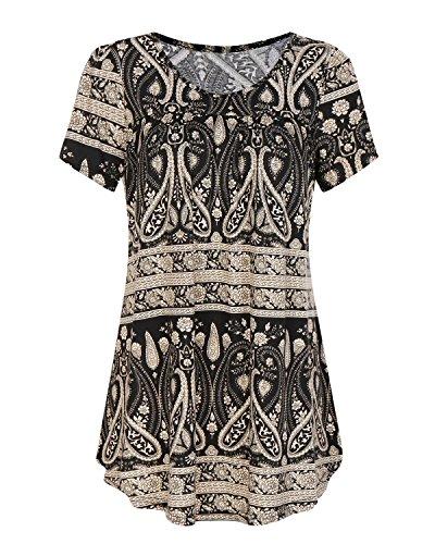 SOLERSUN Damen-Tunika, Damen-Tunika,Damen Sommer Kurzarm Plissee Bluse Shirts Lässige Floral Bedruckte Tunika Tops (Schwarz S) -