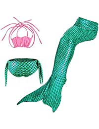 Pettigirl Niñas 3pcs Sirena Cola Traje de Baño Conjuntos Sea Maiden Trajes de Baño Bikini Baños Traje 4-7 años