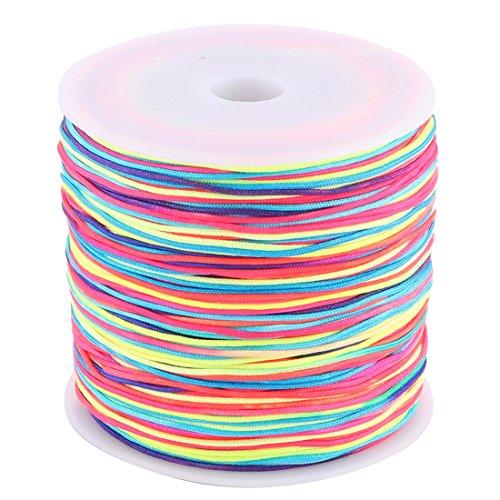 Preisvergleich Produktbild sourcingmap® Haus Nylon chinesische Knoten DIY geflochten Schnur bunt 0,8 mm Dmr. 110 Yards