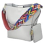 Schultertasch T-Antrix Damen Leder Hobo Handtasche Shopper Beuteltaschen mit Mehrfarbig Gitarrengurt