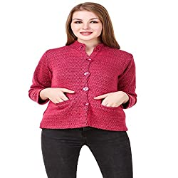 Kritika World Womens Wool Cardigan Dress (COAT_NEHRU_PINK_Pink_Medium)