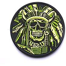"""OneTigris - Parche de velcro con moral táctica militar, parche de calavera, hombre mujer, """"Indian Chief Head Death Skull-Green"""""""