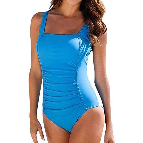 Fenverk Damen Retro Badeanzug Tief V Ausschnitt RüCkenfrei Neckholder Bauchweg Push-Up Bikini Elegant Einteiler GroßE GrößEn One Piece Bademode(Blau A,XL)