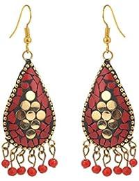 Zephyrr Earrings Tibetan Dangle & Drop Hook Inlay Work For Women and Girls