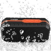 Esonstyle Mini Altavoz Bluetooth Portátil Inalámbrico Impermeable con 1800MAH Batería/Tarjeta TF/Manos Libres/Audio de 3.5mm para iPhone,Huawei, Samsung ,iPad,Tablet, PC Y Otros Dispositivos Bluetooth(Negro + Naranja)