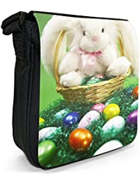 White Easter Bunny Sat On Easter Egg Basket Small Black Canvas Shoulder Bag / Handbag