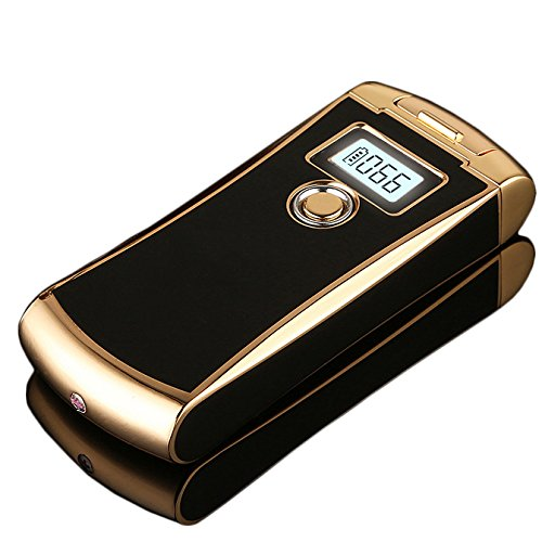 NEUES Feuerzeug, High-Tech-SHUNING USB-Feuerzeug mit Digital-Anzeigen-Schirm, nachladbares doppeltes Bogen-flammenloses windundurchl&aumlssiges Feuerzeug, LED-BILDSCHIRM mit Verbrauchsz&aumlhler, Batterie-Energien-Anzeige (Schwarz)