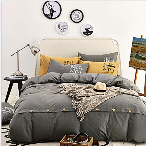 45 MMP Bettwäscheset , 100% Baumwolle Volltonfarbe Button Denim Mode Einfach Bedruckte Baumwolldecke 4-teilig komplettes Bettbezug-Set (Size : 2.0m Bed Four-Piece) - Baumwolle Denim Tröster