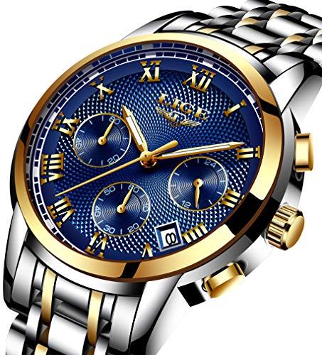 Uhr, herren uhren mode luxus edelstahl wasserdichte multifunktionsuhr (Gold blau)