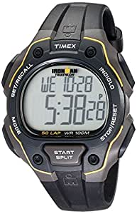 Timex T5K494 Timex Ironman 50 Lap Gents Watch Quartz Digital Multicolour Dial Black Resin Strap