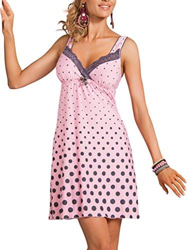 r-dessous exklusives Damen Nachtkleid Negligee Sleepshirt Viskose Nachtwäsche Nachthemd mit Träger pink Donna Rosa