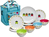 Flamefield Unisex Camper Smiles with Cooler Bag 12 Piece Melamine Dining Set, Multicoloured