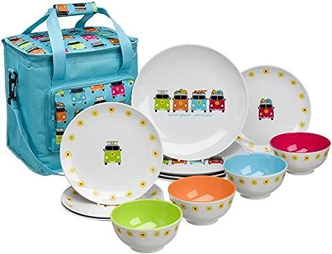 Camper Smiles VW. 12pièces en mélamine vaisselle accessoires pour caravane et camping-car - Grove Singolo