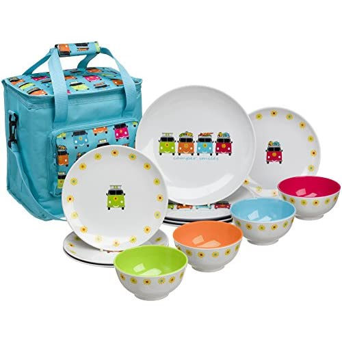 51tkxXOkMmL. SS500  - Flamefield CAM0113 Camper Smiles 12 Piece Melamine Dining Set with Cooler Bag, Multicolour