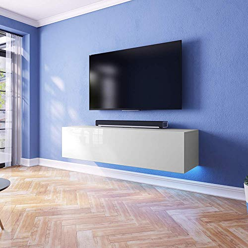 TV-Schrank Lowboard Hängeboard SIMPLE mit LED Blau - 5