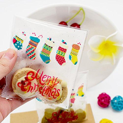hten Socken Kunststoff Cookies Verpackung Beutel Geschenk Xmas selbstklebend Tasche Candy Biscuit Geschenk Beutel Party Decor (Christmas Cookie-taschen)