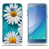 Custodia Samsung Galaxy C5 2017/C5 pro, FUBAODA [due Crisantemo bianco] trasparente Silicon Clear TPU design trasparente opaco morbido in gomma Silicon Cover telefono protezione caso per Samsung Galaxy C5 2017/C5 pro