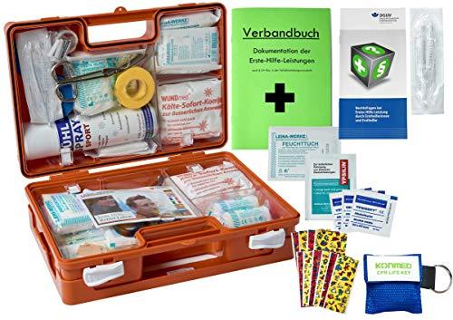 WM-Teamsport Sport-Sanitätskoffer Plus 1 Erste-Hilfe Koffer DIN 13157 + 13164 + Sport-Ausstattung mit Kälte-Behandlung + Sporttape