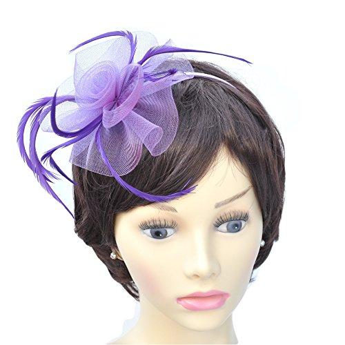 Lila Feder plume & Gaze Lily Design Haarband Fascinator