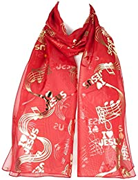 70756a810571 Filles Femmes écharpe en mousseline foulard motif I Love Jesus Gospel notes  de musique châle enveloppant
