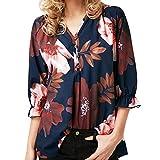 Innerternet Bluse Damen Langarm Blumenmuster V-Ausschnitt Elegante Tunika Casual Top Locker Langarmshirts mit Knopfleiste Frauen Oberteile Elegant