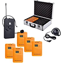 ZLWUS 800R Wireless Tour Guide System , UHF794~806MHz Digital AudioGuias y AudioGu¨ªas(2pc Transmisors + 50pc Auricular + Suitcase) Para Ense?anza Visiting and Conferencia(Orange)